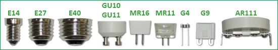 Závity E27, E14, GU10, MR16, G9, G4