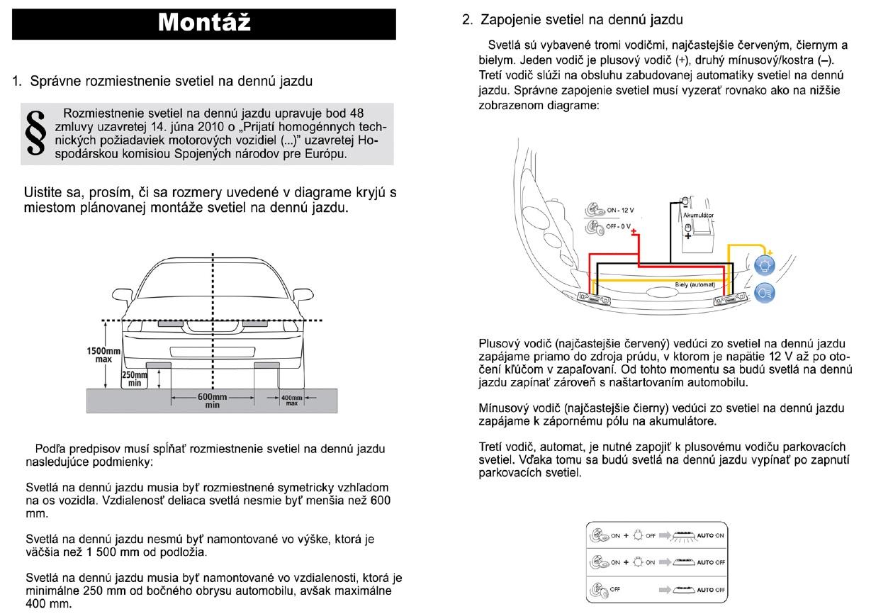 montáž modulov denného svietenia na autá