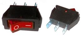 Prepínač kolískový 3pin 230V červený
