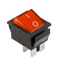 Prepínač kolískový 4pin 230V červený