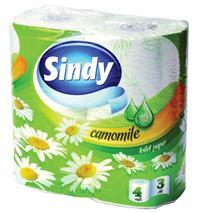"""Toaletný papier, 3 vrstvový, 4 ks/bal, """"Sindy"""", kamilka"""
