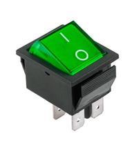 Prepínač kolískový 4pin 230V zelený
