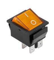 Prepínač kolískový 4pin 230V žltý