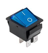 Prepínač kolískový 4pin 230V modrý