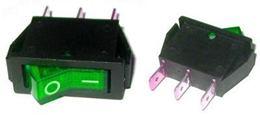 Prepínač kolískový 3pin 230V zelený