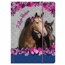 Doska s gumičkou A4, I Love Horses