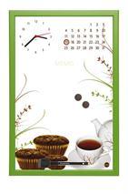 Informačná tabuľa, s hodinami a kalendárom, 30x45 cm, zelený rám