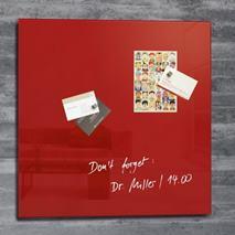"""Magnetická sklenená tabuľa, 48x48 cm, SIGEL """"Artverum® """", červená"""