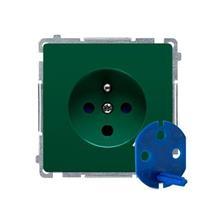 Zásuvka 250 V Simon Basic DATA s kľúčom modul zelená
