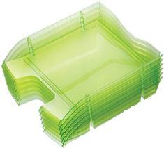 """Odkladač, plastový, nelámavý, HELIT \""""Nestable Green Logic\"""", priehľadný zelený"""