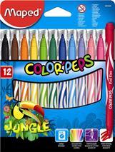 """Fixky, 2,8 mm, odstrániteľné vodou, MAPED \""""Color`Peps Jungle\"""", 12 rôznych farieb"""