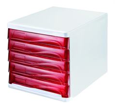 Zásuvkový box na dokumenty, plast, 5 zásuviek, HELIT, sivý/červený