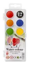 Vodové farby, ježko, 12 farieb, priemer kruhov:  22,5 mm