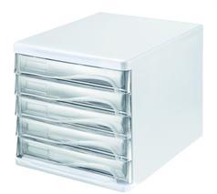 Zásuvkový box na dokumenty, plast, 5 zásuviek, HELIT, sivý/priehľadný