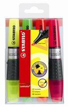 """Zvýrazňovač, sada, 2-5 mm, STABILO \""""Luminator\"""", 4 rôzne farby"""