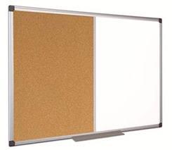Kombi tabuľa, biela/korok, 100x200 cm, hliníkový rám