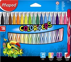 """Fixky, 2,8 mm, odstrániteľné vodou, MAPED \""""Color`Peps Jungle\"""", 18 rôznych farieb"""
