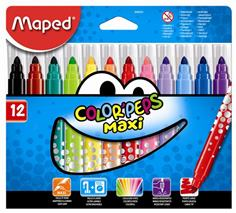 "Fixky, 1-6 mm, hrubé, MAPED \""Color`Peps Maxi\"", 12 rôznych farieb"