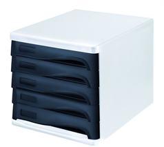 Zásuvkový box na dokumenty, plast, 5 zásuviek, HELIT, sivý/čierny