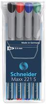 """Popisovač, OHP, 0,4 mm, SCHNEIDER \""""Maxx 221 S\"""", 4 rôzne farby"""