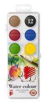Vodové farby, ježko, 12 farieb, priemer kruhov: 30 mm