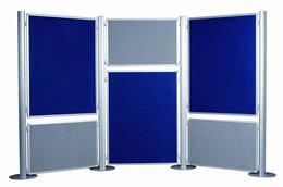 Obojstranný displejový panel, textil (sivý/modrý),  60x90 cm