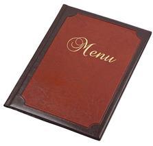 Obal na jedálny lístok, s rámom, A4, s efektom kože,  PANTA PLAST , hnedý-bordový