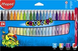 """Fixky, 2,8 mm, odstrániteľné vodou, MAPED \""""Color`Peps Jungle\"""", 24 rôznych farieb"""