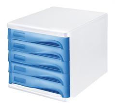 Zásuvkový box na dokumenty, plast, 5 zásuviek, HELIT, sivý/modrý